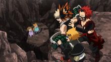 Katsuki, Eijiro, and Denki rescuing people