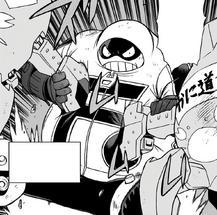 Fat Gum sosteniendo dos robots fuera de control