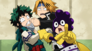 Izuku, Denki, and Minoru notice Camie