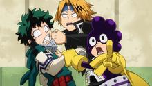 Izuku, Denki, and Minoru notice Camie