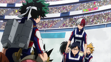 Team Todoroki confronts Team Midoriya