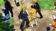 Zombie patting All Might on the shoulder