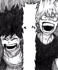 Katsuki and Izuku cheer on All Might