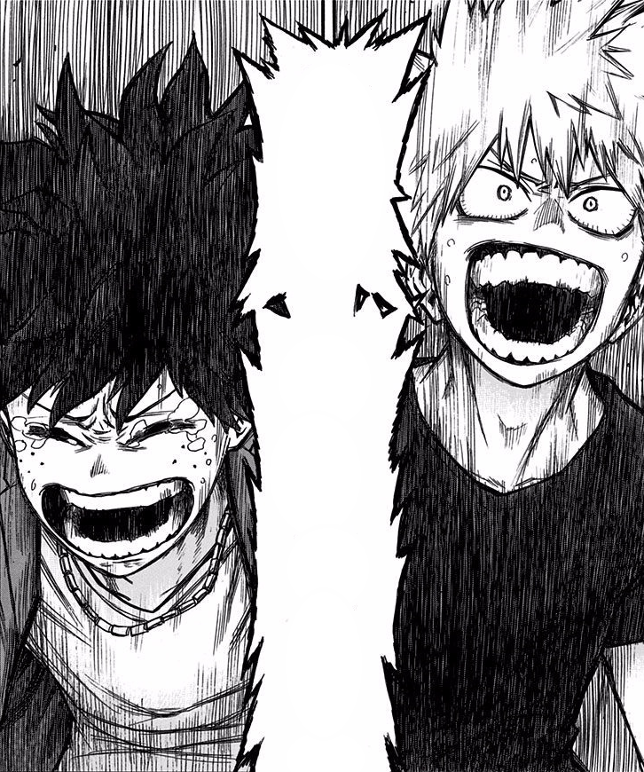 Katsuki and Izuku cheer on All Might