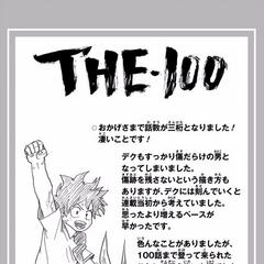 Horikoshi celebrando haber llegado al Capítulo 100.