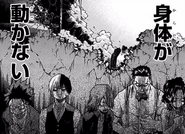 Izuku, Shoto, Eijiro, Tenya and Momo in fear