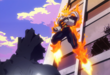 Endeavor uses flame jets to propel himself in midair