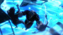 Dabi's flames destroy the door