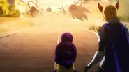 Minoru and Yuga encounter Mummy's puppets