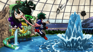 Izuku, Tsuyu and Minoru defeat Villains