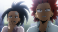 Momo and Eijiro surprised at Tenya
