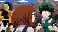 Izuku asks Hanta and Ochaco if they are real