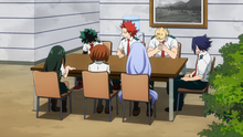 Izuku and Mirio explain the situation to their classmates