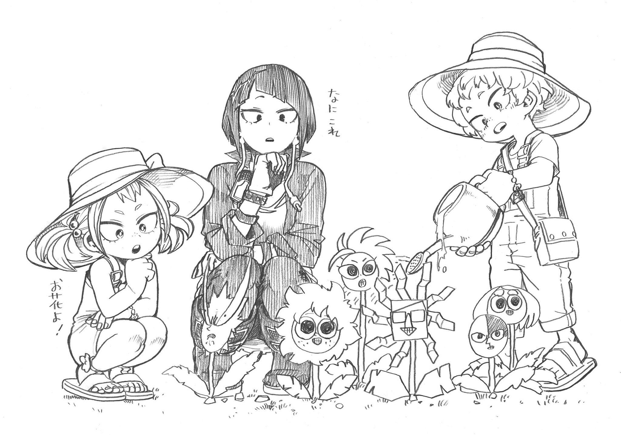 Kyoka with Mahoro and Katsuma sketch