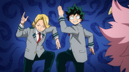 Mina teaches Deku and Yuga to dance