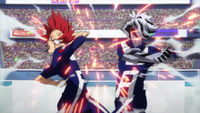 Eijiro and Tetsutetsu knock each other out