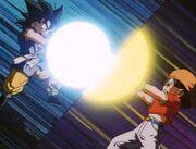 Goku i Pan ataquen a la vegada