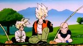 Goku, Gohan i Krilin pescant