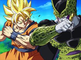 Goku superguerrer vs Cèl·lula perfecte