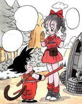 Goku coneix Bulma manga