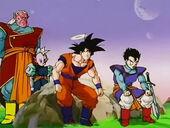 Goku amb Gohan, Kibito i Shin món dels Déus