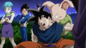 Bulma, Vegeta, Goku i Ulong