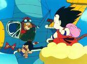 El Capità Yellow i en Goku es troben al cel
