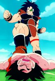 Raditz aixafa costelles a Goku