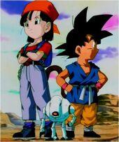 Goku, Pan i Giru recerca Dracs