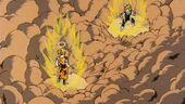 Goku i Vegeta a punt de lluitar