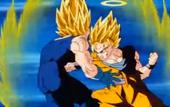 Goku SG2 cop de puny contra Vegeta SG2