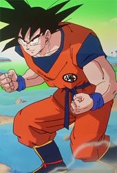 Goku arriba a la batalla