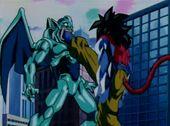 Goku ataca Eis amb peus
