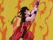 Goku sortint del foc