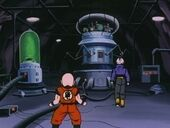 Krilin i Trunks al laboratori Dr Gero