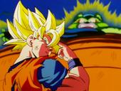 Goku despedint-se i Cèl·lula semi