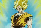Goku superguerrer davant Buu