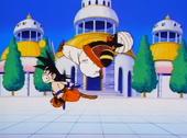 Popo puntada a Goku