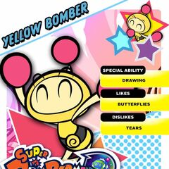 Yellow Bomber's <i>Super Bomberman R</i> profile card