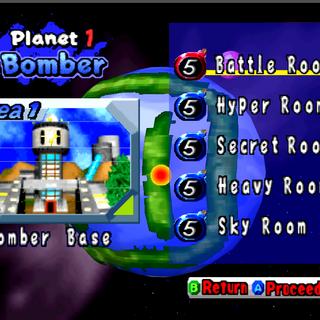 Bomber Base level select screen in <i>Bomberman Hero</i>