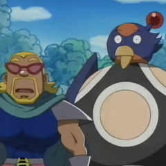 Mujoe and Swallow Ball Bomber are shocked that the small warp device is broken