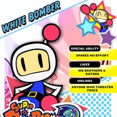 White Bomber's <i>Super Bomberman R</i> profile card