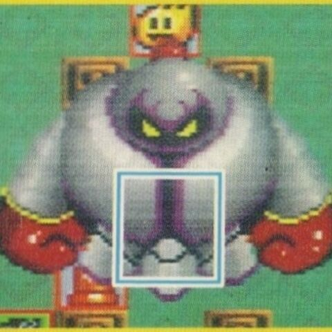 Mecha Onita's collision area, as depicted in the <i>Super Bomberman</i> Guidebook