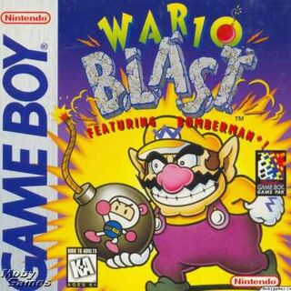 Box Art of Wario Blast, Wario's only appearance in the <i>Bomberman</i> series.