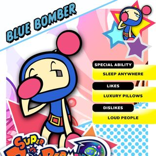 Blue Bomber's <i>Super Bomberman R</i> profile card