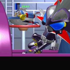 Bomberman and Max chasing Mujoe into space
