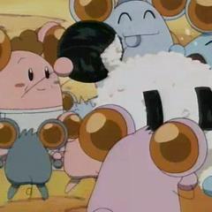 Aliens eating White Bomber's Bomberman onigiri