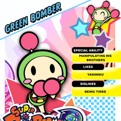 Green Bomber's <i>Super Bomberman R</i> profile card