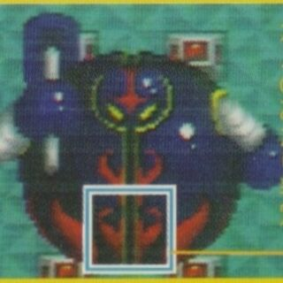 Bigaron's collision area, as depicted in the <i>Super Bomberman</i> Guidebook