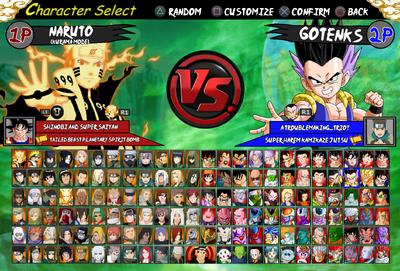 Naruto vs DBZ Roster